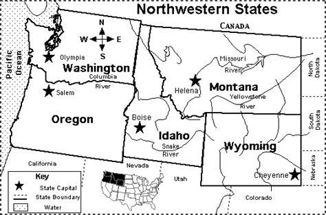 northwest united states map northwestern us states map quiz printout
