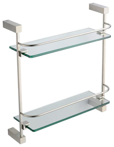 Fresca Ottimo 2 Tier Glass Shelf Brushed Nickel Modern Bathroom Glass Shelves Brushed Nickel