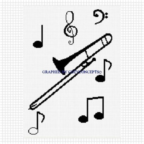 notes pattern making trombone with musical notes blanket crochet afghan pattern