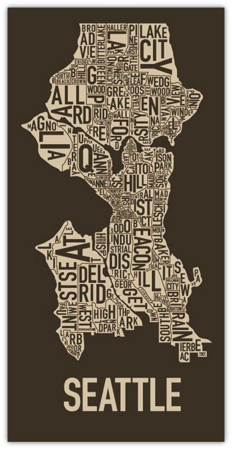 seattle map neighborhoods poster seattle neighborhood map