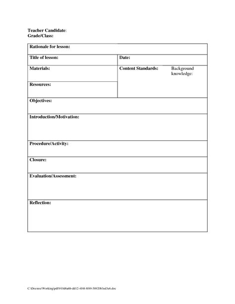 Blank Lesson Plan Template Pdf by Blank Lesson Plan Template Lisamaurodesign