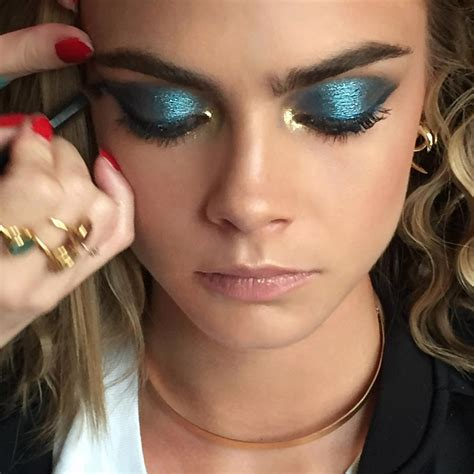hair and makeup ideas 70 s disco blue and gold for cara delevingne tonight