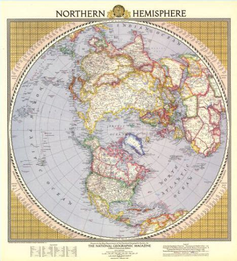 northern hemisphere map vintage national geographic maps