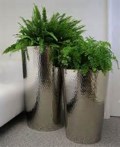 Outdoor Planters And Urns Hammered Stainless Steel Tapered Round Planters From