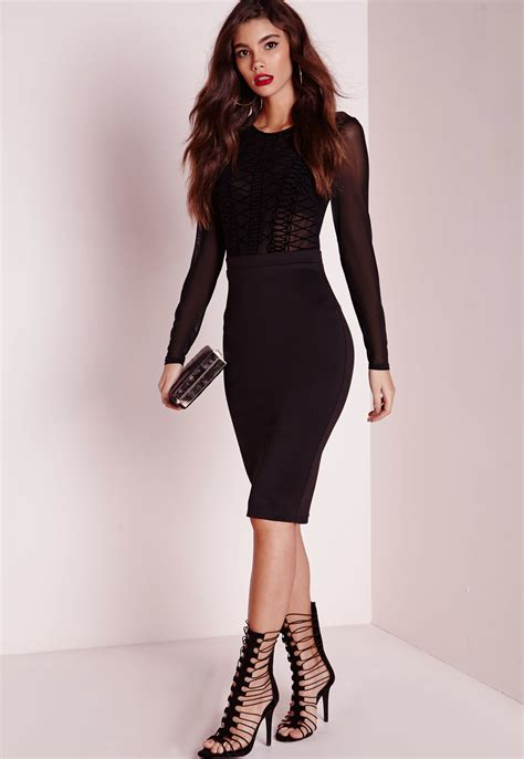 Mesh Sleeve Dress missguided sleeve mesh top midi dress black in black