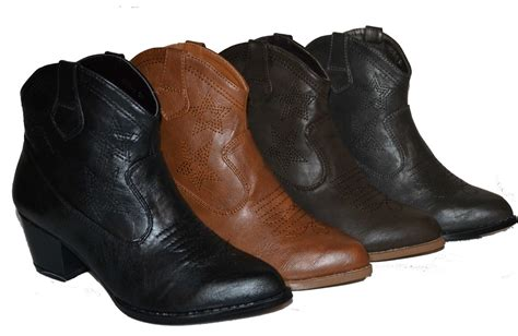 cowboy ankle boots womens womens ankle high cowboy boots in 4 colors black d
