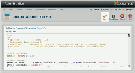 cms web how to edit a joomla 2 5 template