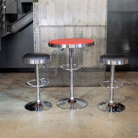 Soda Shop Bar Stools by Amerihome Vintage Style Soda Shop Bar Table Set In And Black With Padded Vinyl Stools 3