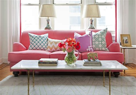 bright pink sofa blue 11 interiors currently loving bright and colorful sofas
