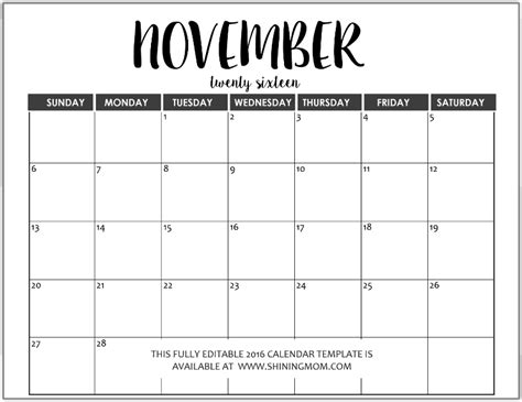 november calendar template 2016 editable november 2016calendar in word calendar