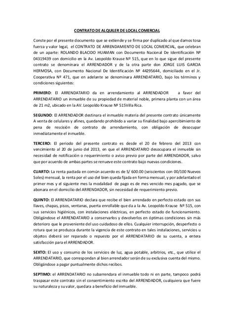 contrato de alquiler peru 2016 contrato de arrendamiento de casa habitacion