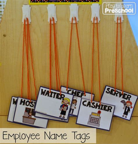 printable employee name tags restaurant dramatic play center for preschoolers