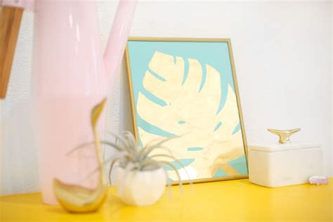 diy tropical leaves art think crafts by createforless diy gold tropical leaf art print