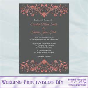 coral and grey wedding invitations coral and gray wedding invitations template diy