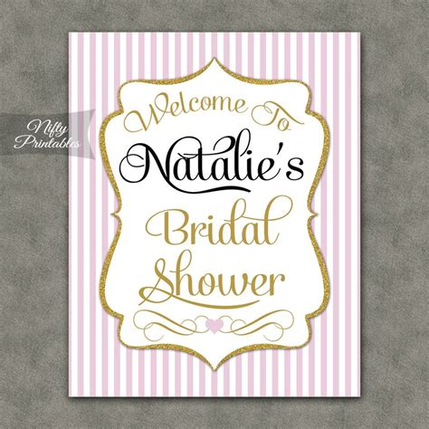 printable bridal shower signs pink gold bridal shower welcome sign nifty printables