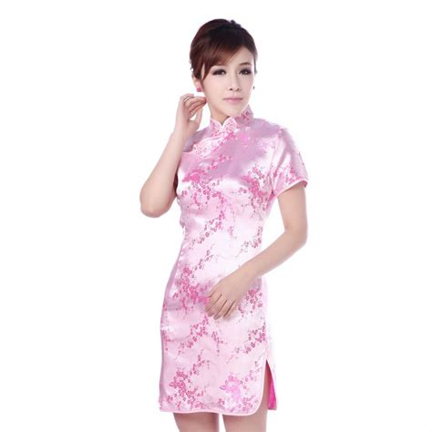 Cheongsam Pink plum flowers brocade traditional cheongsam pink