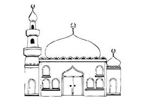 Masjid Coloring Mosque Pages 875x620 sketch template