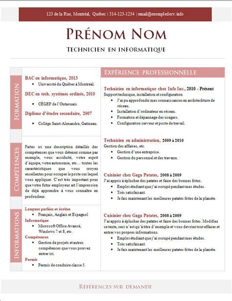 Cv Modèle à Télécharger by Resume Format Des Modeles De Curriculum Vitae