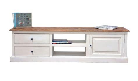 meuble tv manguier jeanne 2 tiroirs 1 porte blanc 180x45x50