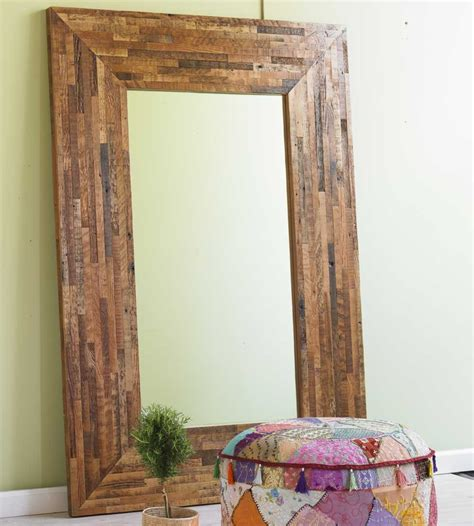 in floor mirrors of rustic style the natural color of wood frame is preserved mike davies s