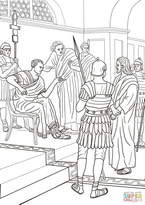 Coloring Pages Jesus Before Pilate | jesus before pilate coloring page free printable
