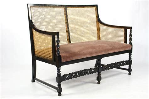 cane settee furniture edwardian ebonised beech bergere cane sofa settee
