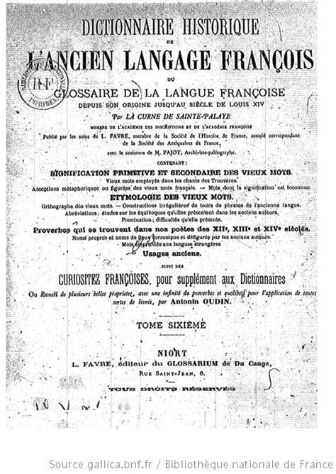 Dictionnaire historique de l'ancien langage françois ou