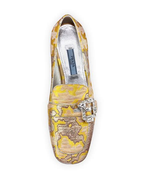 Versace Metallic Jacquard Snap Out Of It Bag by Prada Metallic Jacquard 35mm Loafer