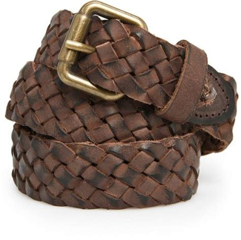 mango braided leather belt in brown for brown
