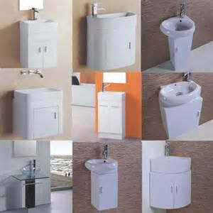 compact space saving white bathroom vanity unit and basin