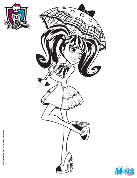 Draculaura S Umbrella Coloring Pages Hellokids Com High Draculaura Coloring Pages