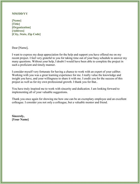 Support Appreciation Letter thank you for your help letter exles yahoo image