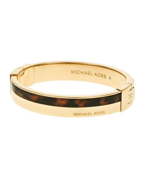 michael kors logo hinge bangle bracelet in white steel