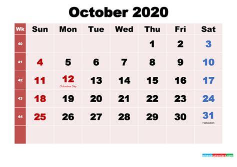 printable october  calendar  holidays  word