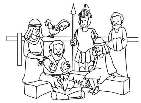peter denies jesus coloring page az coloring pages
