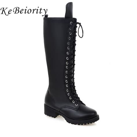 knee high motorcycle boots kebeiority women motorcycle boots lace up knee high boots