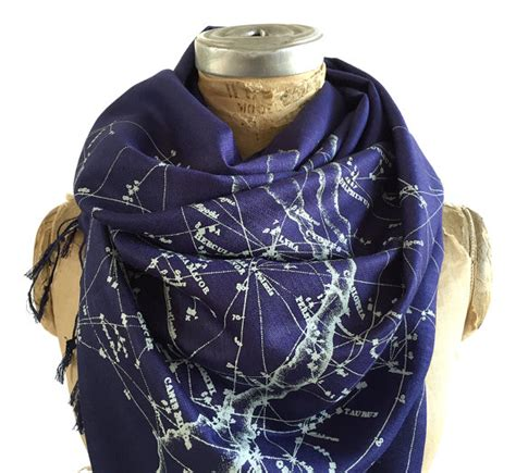 Pasmina Galaxy constellation print scarf sky linen weave pashmina