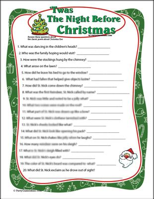 the night before christmas movie trivia twas the before mad lib decore