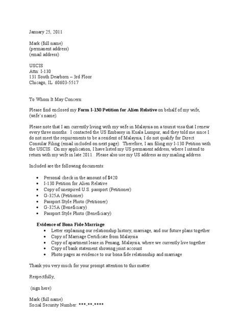 Sample Cover Letter for I 130 Petition (CR 1 Visa)