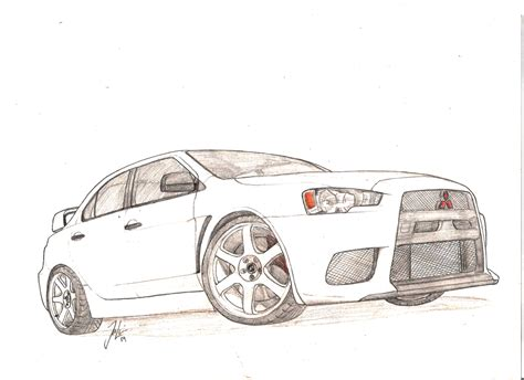 mitsubishi evo drawing how to draw evo 8
