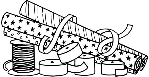 wrapped present coloring page gift wrap clipart clipart suggest