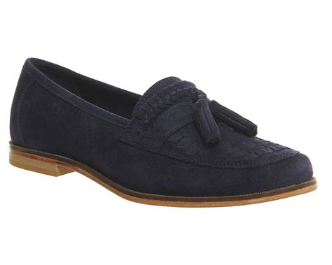 Maharani Loafer Flats Dir Co office bank tassel loafers navy suede casual
