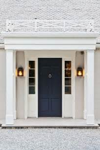 House Doors Beautiful Home Exterior Boasts A Navy Front Door Flanked