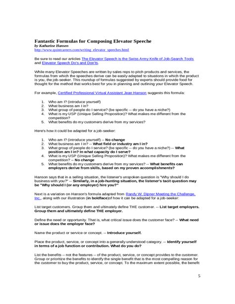 Resume Elevator Pitch   Elevator Speech Sample Free