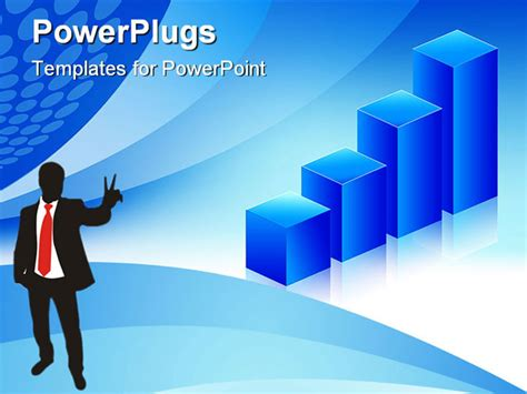 economic powerpoint templates economic graph blue background for business and finance