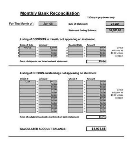 Bank Reconciliation Spreadsheet Microsoft Excel Monthly Reconciliation Template