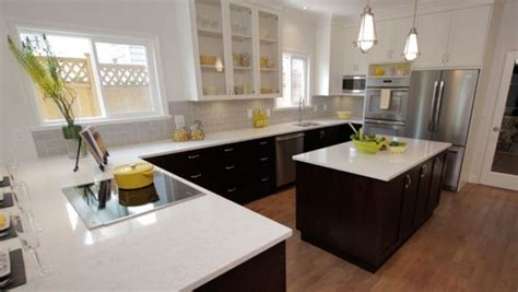 Property Brothers Kitchen Cabinets Property Brothers White Uppers Lower Cabinets With White Quartz Countertops Property