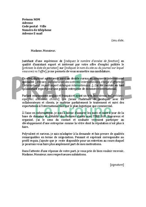 Lettre De Motivation Stage Import Export Lettre De Motivation Pour Un Emploi D Assistant Export Confirm 233 Pratique Fr