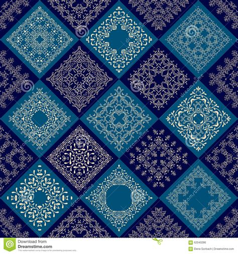 damask pattern mosaic tile abstract patchwork tiles seamless background stock vector