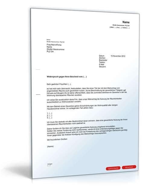 Musterbrief Kündigung Mietvertrag Vermieter Abmahnung Eines Mieters Wegen Unerlaubter Gewerblicher Nutzung Wohnr 228 Umen Musterbrief Zum